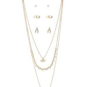 Necklace and Earrings Horseshoe Gold-Tone Set